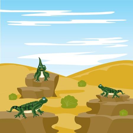 deserted: Illustration of the pangolin iguana in deserted terrain