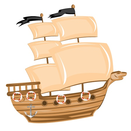 Illustration pirate ship on white background is insulated Vector