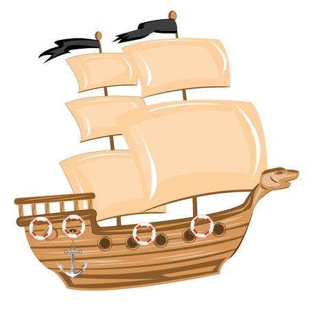 barco pirata: Ilustración barco pirata sobre fondo blanco está aislado