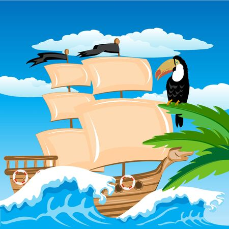 Illustration of the sailing schooner beside tropical coast Stock Vector - 18520306
