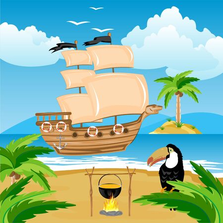 Nave with sail beside coast of the tropical island Stock Vector - 18520307
