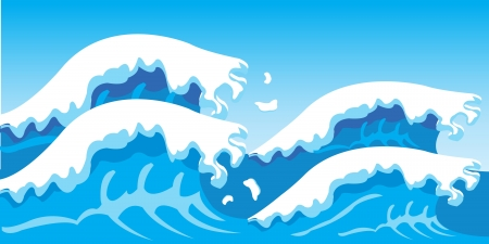 rages: Illustration of the seagoing waves and blue sky Illustration