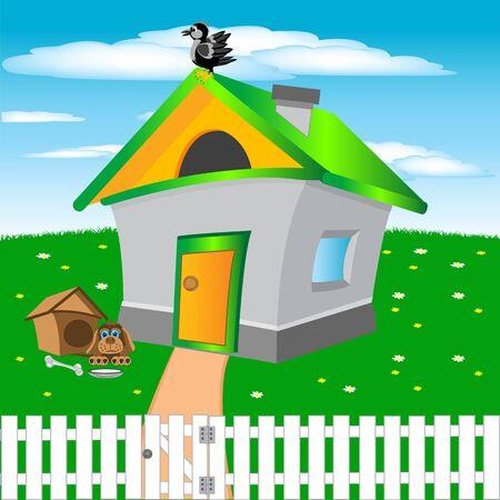 Illustration of the small building in village Illustration