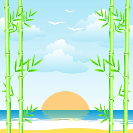 Illustration epidemic deathes and bamboo grove on sunrise Stock Vector - 18594761