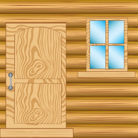 log wall: Illustration window and door in house from tree Illustration