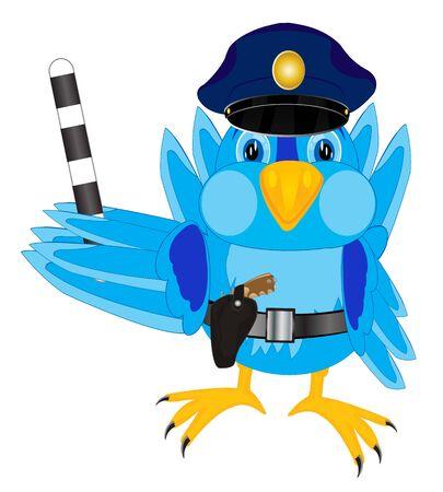aves caricatura: Ilustración de la policía pájaro del gorrión
