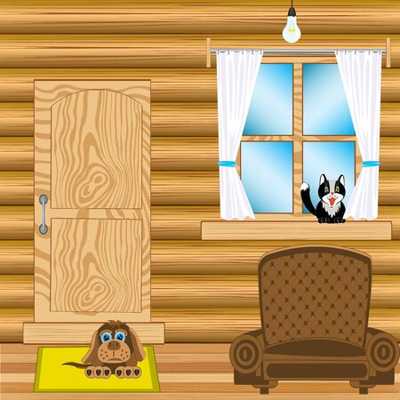 blind dog: Illustration of the room with furniture in wooden house Illustration