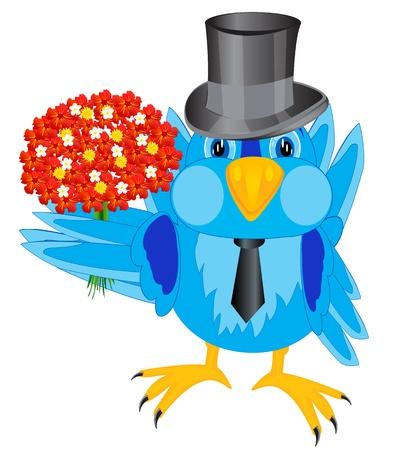 fop: Natty bird sparrow with beautiful bouquet flower