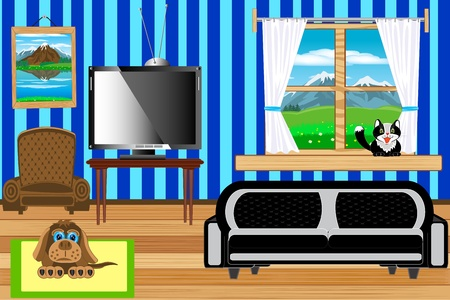 inwardly: Illustration of the room with window and furniture inwardly Illustration