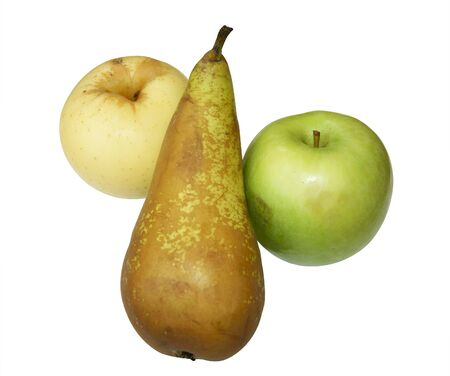 insulated: Two apples and pear on white background is insulated Stock Photo