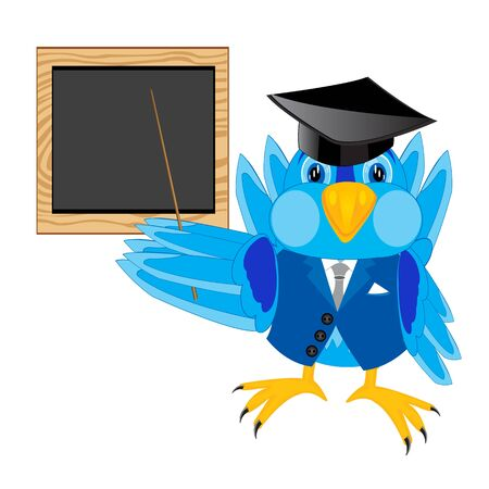 teaches: Sparrow teacher beside school board with pick device Illustration