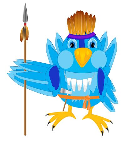 huntsman: Bird warrior with weapon on white background is insulated