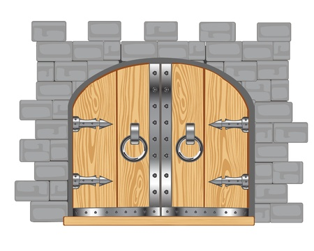 impregnable: Wall and gates in fortress on white background Illustration