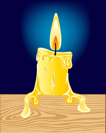 alight: Illustration of the alight candle on turn blue background