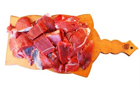 damp: Consiglio con carne umido su sfondo bianco � isolato