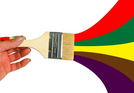 tassel: Rainbow brush. Abstract background. Hand with tassel