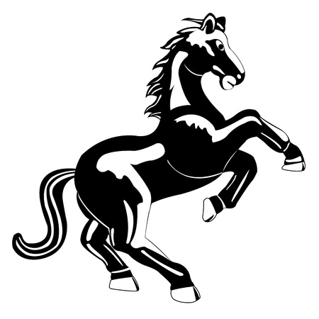 gelding: Black white silhouette on white background is insulated