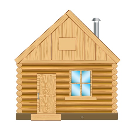 Illustration of the wooden lodge on white background Vector