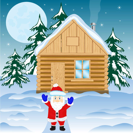 thrash: House in winter wood and festive santa