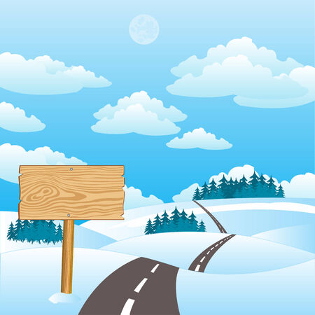sectoring: Vector illustration of the road amongst hills in winter