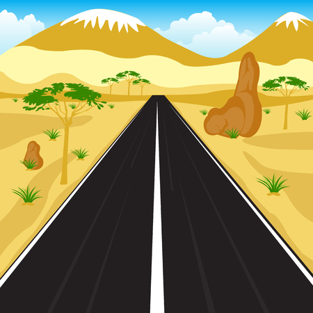 sectoring: Vector illustration of the road in deserted terrain Illustration