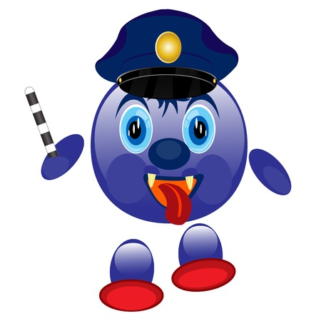 truncheon: Nice smail police on white background is insulated