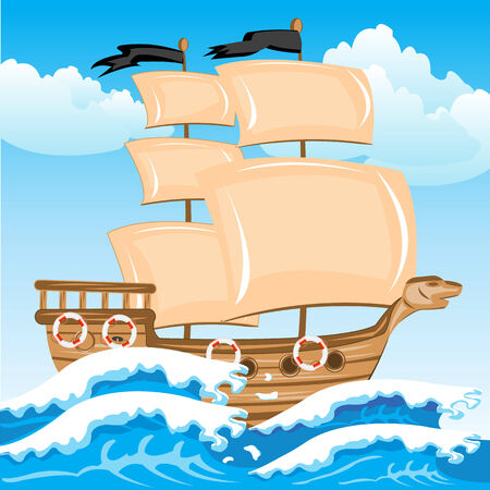 nave: Illustration of the sailing nave in ocean Illustration