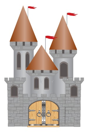 Medieval fortress on white