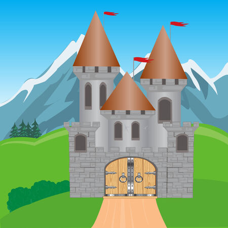Illustration to medieval fortress in mountain by summer Vector