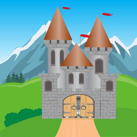 obscure: Ilustraci�n para la fortaleza medieval en la monta�a en el verano