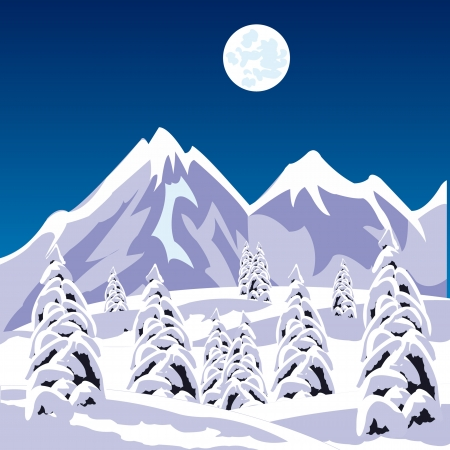 obscure: Illustration of the winter landscape amongst snow mountains