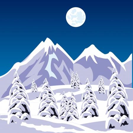 neve montagne: Illustrazione del paesaggio invernale tra le montagne di neve