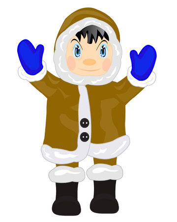 Man eskimo in warm cloth on white background Vector