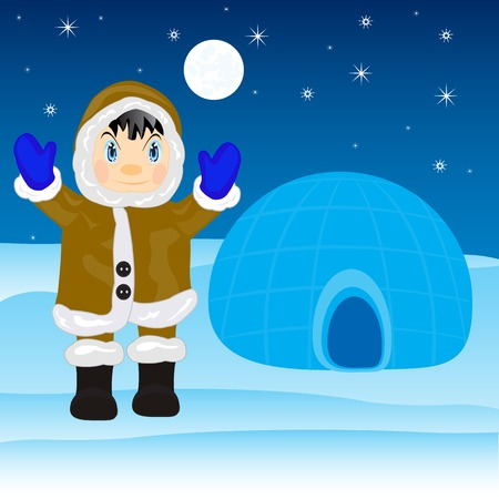 Illustration of the eskimo near by igloo on north Stock Vector - 26108567