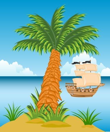 obscure: Isla tropical en el oc�ano medio y la nave de vela