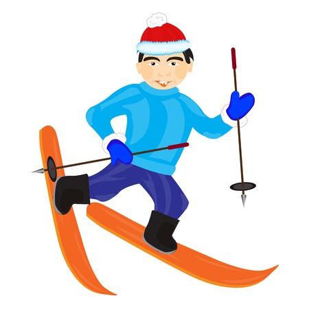 lad: Hombres Ilustraci�n esquiador en el fondo blanco est� aislado Vectores