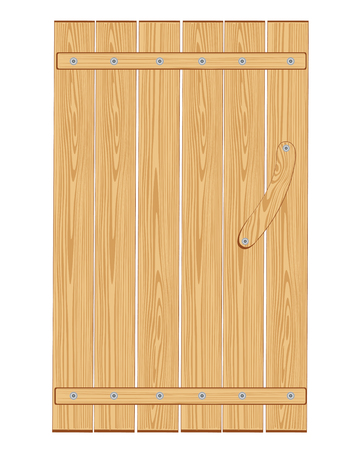 Wooden door from boards on white background insulated Vector