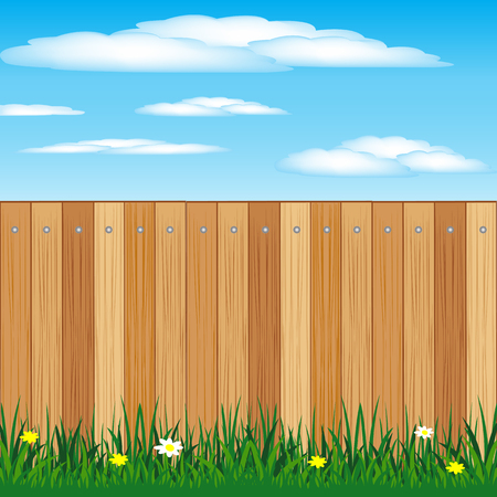 Illustration of the wooden fence and herbs with flower Vector