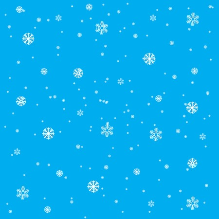 Winter background from snowflake on turn blue