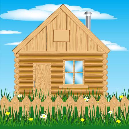 Illustration of the lodge in rural terrain on nature Illustration