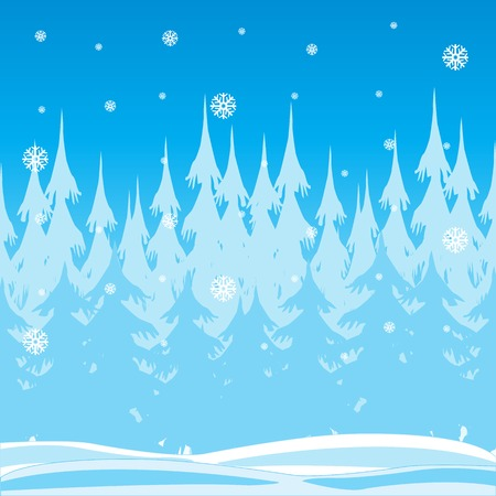 Vector illustration winter wood and falling snow Vector