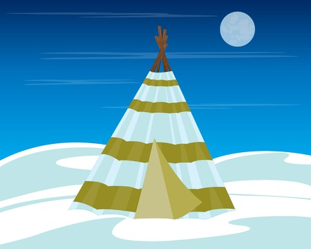 wigwam: Illustration vein person on far norths amongst snow