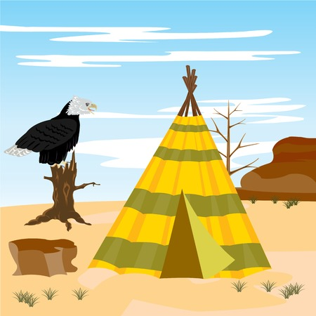 wigwam: Illustration vein  iindian  wild desert and eagle
