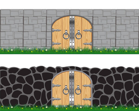 Two walls from stone and brick on white background is insulated Vector