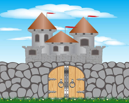 impregnable: Illustration stone wall and old lock on background sky