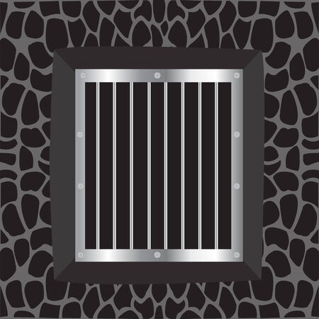 Illustration window with iron lattice on background wall Vector