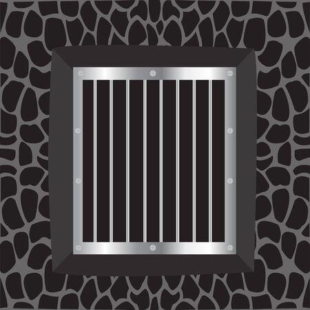lattice window: Illustration window with iron lattice on background wall Illustration