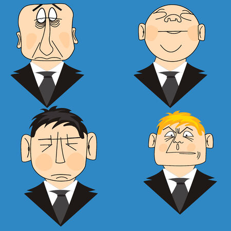 mimicry: Much Icons people in suit on turn blue background Illustration