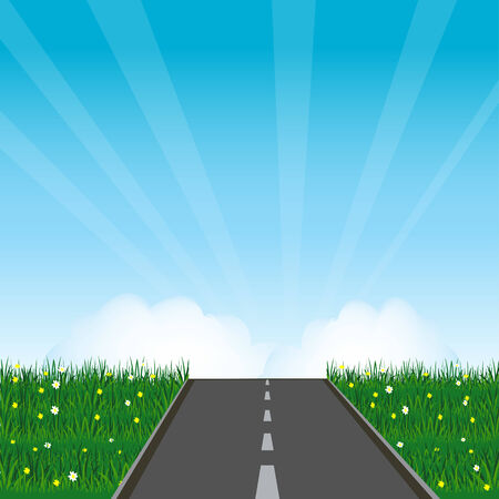 Asphalt road in green field with flower Vector