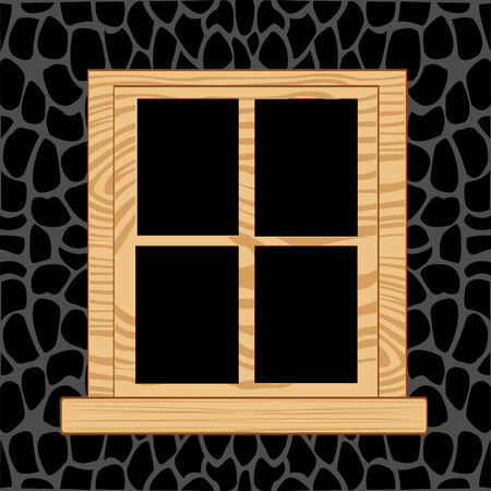 wooden window: Wooden window in wall from stone.Window from tree